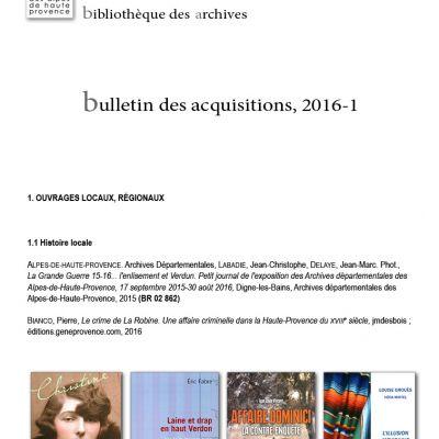 Bulletin des acquisitions de la bibliothèque